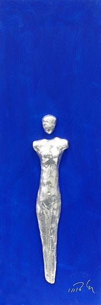 Frau, Silber auf Blau
