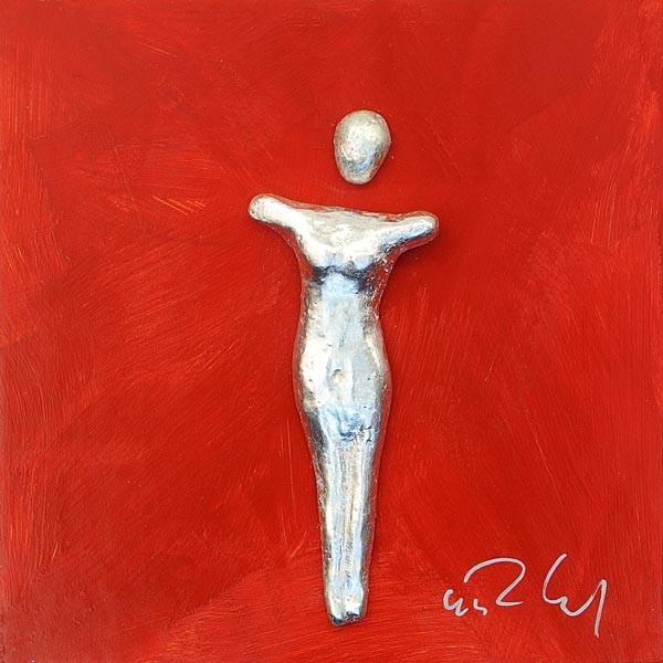 Frau, Silber auf Rot