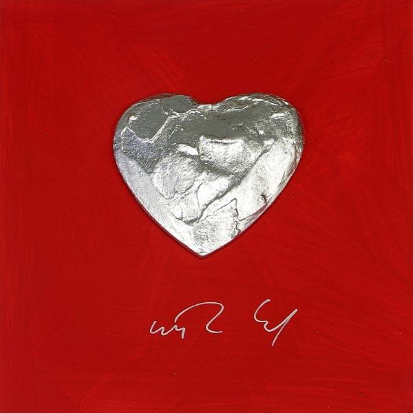Großes Herz, Silber auf Rot