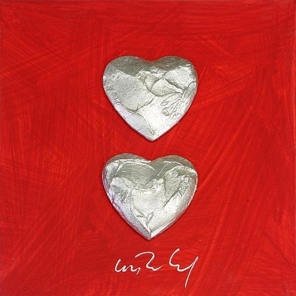 2 Herzen, Silber auf Rot