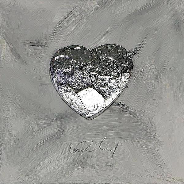 Großes Herz, Silber auf Grau