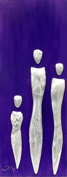 Familie, Silber auf Blauviolett