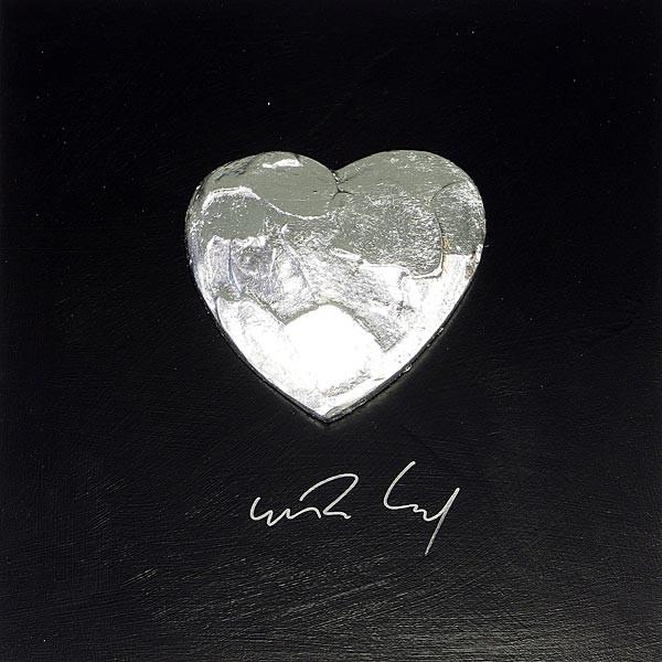 Großes Herz, Silber auf Schwarz