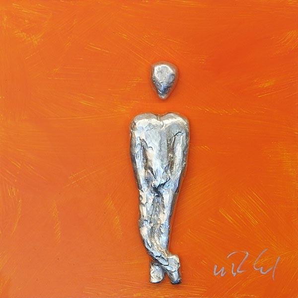 Mann, Silber auf Orange