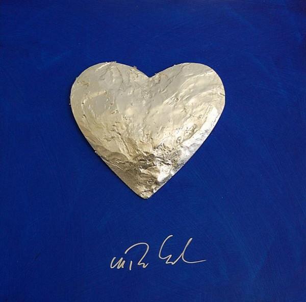 Großes Herz, Silber auf Blau