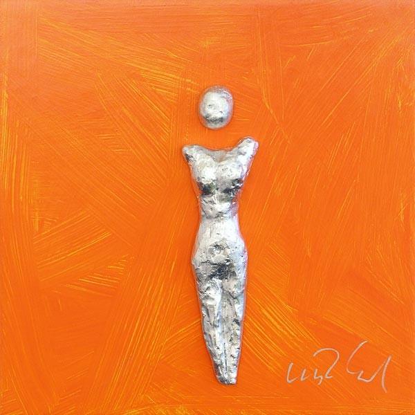 Frau, Silber auf Orange