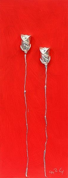 2 Rosen, Silber auf Rot