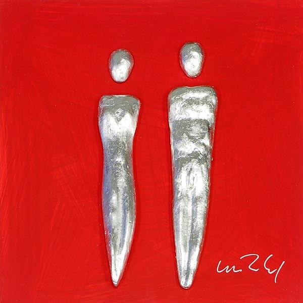 Paar, Silber auf Rot