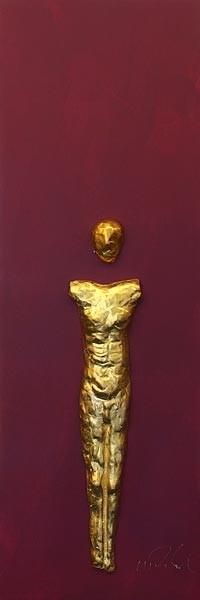 Mann, Gold auf Violett