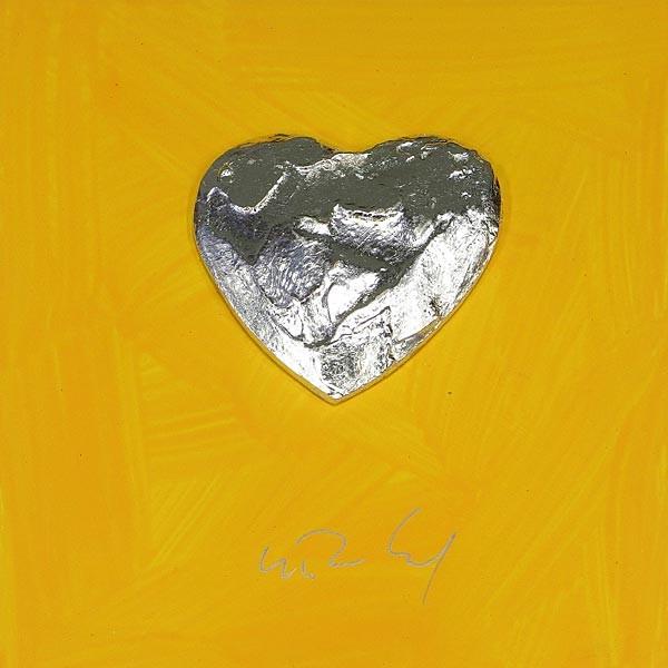 Großes Herz, Silber auf Gelb