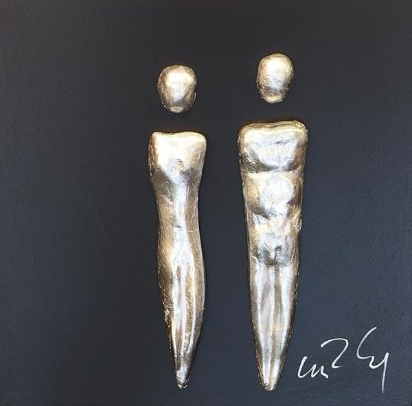 Paar, Silber auf Schwarz