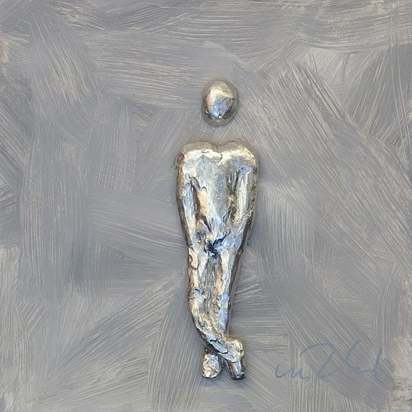 Mann, Silber auf Grau