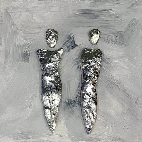 Paar, Silber auf Grau