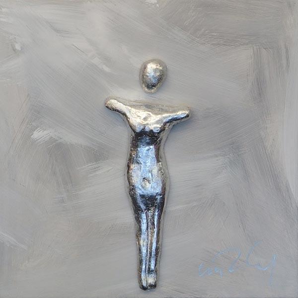 Frau, Silber auf Grau