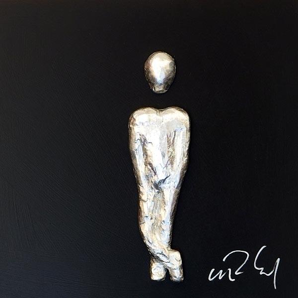 Mann, Silber auf Schwarz